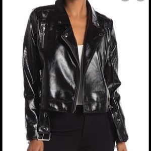 Nicole Miller Stitch Faux Leather Moto Jacket L